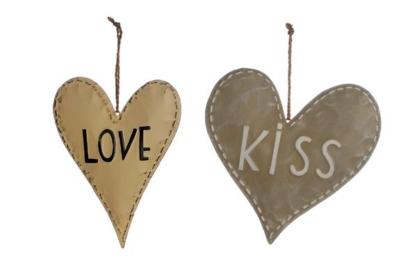 Anhänger Herz Love / Kiss 2er Set Bild