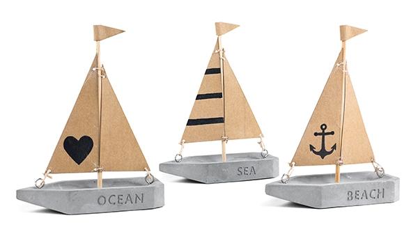 Segelboot Betonoptik 3er Set Bild